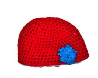 Red Mesh Skull Cap, Turquoise Flower, Size Teen To Adult, Women's Crochet Hat