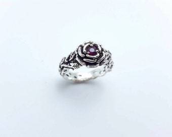 Ruby Silver Rose Ring,Silver Rose Promise Ring, Natural Ruby,925 Sterling Silver, Black Silver