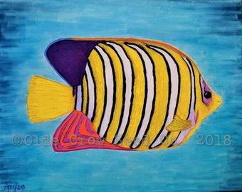 Regal Angelfish Mixed Media Painting 8x10 Original Folk Art