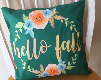 Pillow cover / Throw Pillow Cover / Fall pillow cover / hello fall / watercolor floral pillow cover / 14x14 / 15x5 / 16x16