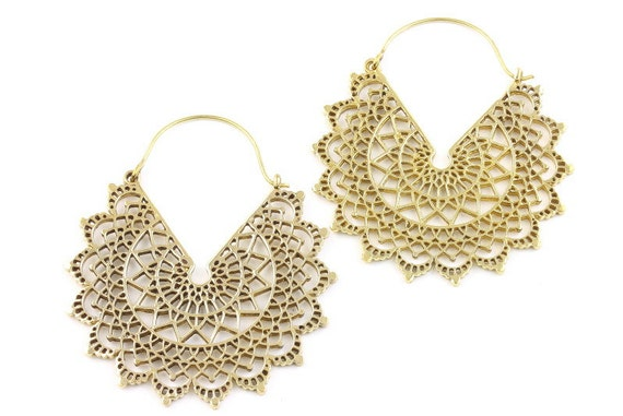 Large Mandala Brass Earrings, Silver Mandalas, Tribal Earrings, Festival Earrings, Gypsy Earrings, Ethnic Earrings, Mehndi Brass Earrings