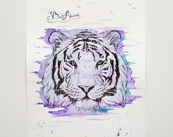 Tiger, tiger head, tiger art, tiger gifts, tiger print, jungle animals, tiger decor, jungle nursery decor, purple decor, tiger painting, art