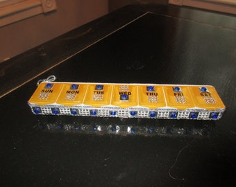 Pill holder CONTAINER 7 day Embellished  with Rhinestones for the person who has everything