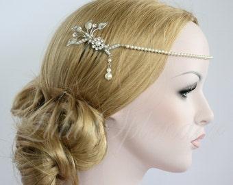 Pearl Wedding Halo Forehead Band Matt Silver Leaf Headpiece Bridal Hair Accessory ASHER