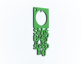 New Parents Christmas Gift, Shh Baby Is Sleeping Door Hanger, Do Not Disturb Baby Hanger, Sleeping Baby Door Sign, Baby Wood Door Hanger