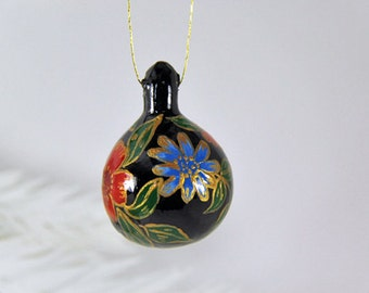 Natural Gourd Ornament 68, Hand Painted Folk Art Flowers,, Black Gold Mini Decor, Holiday Gift, Small Painted Gourd, Christmas Ornament