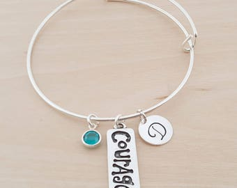 Courage Bangle - Silver Adjustable Bangle - Personalized Initial Bracelet - Swarovski Crystal Birthstone Jewelry - Gift For Her