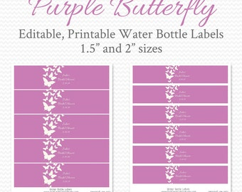 Water Bottle Labels, Purple Butterfly, Girl Baby Shower, Bridal Shower Decor, Birthday Party Decorations - Editable, Printable, Instant