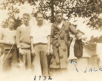 """Vintage Photo """"Jack"""" Handsome Guys Wool Bathrobe Tent Laundry Camping 1932 Found Vernacular Photo"""