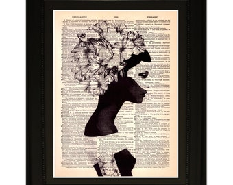 """Dreamer"""".Dictionary Art Print. Vintage Upcycled Antique Book Page. Fits 8""""x10"""" frame"""