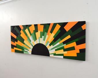"wood wall art - ""Jamaican Sunset"" - 36x12 wooden wall art, wood art, wall art, modern art, wood slices, wood signs, wood mirror"