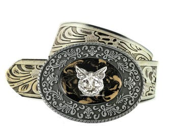 Fox Belt Buckle Inlaid in Hand Painted Glossy Black Enamel with Gold Swirl Woodland Inspired Metal Buckle with Color Options