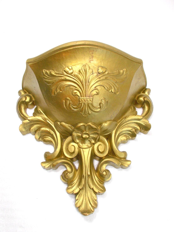 Homco Gold Wall Pocket / Homco Wall Planter / Gold Wall