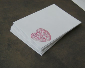 """10 ENVELOPES with Red Scroll Heart Hand stamped White  - 3 5⁄8 x 5 1⁄8"""" A1 Size"""