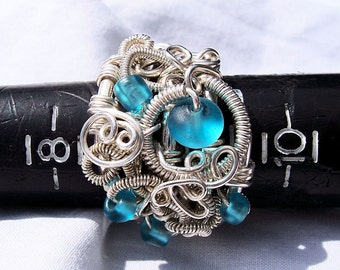 "Sculpture Ring in Argentium Sterling Silver, SAMPLE PHOTO, ""Irresistable in Blue"",  OOAK"