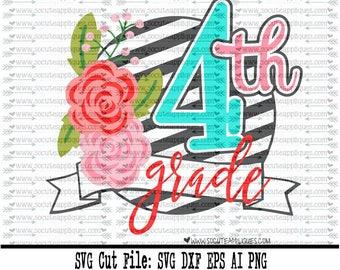 Back to school SVG, 4th grade flower frame svg, 1st day of school svg, Fourth grade svg, teacher svg, 4th grade svg, socuteappliques