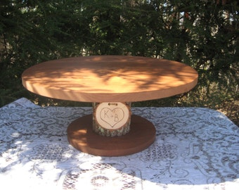 """Rustic Cake Stand, Rustic Wedding, Log Cake Stand, Bark Cake Stand, Personalized Cake Stand, Stump Cake Stand, 20"""" Round or Square"""