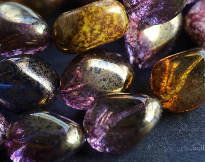 NUGGET MIX .. 10 Premium Picasso Czech Glass Beads 17x13mm (6051-10)