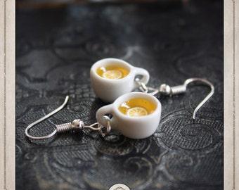 TEA cups of tea + lemon slice, Silver earrings ceramic porcelain white, coffee, tea earl grey MB004