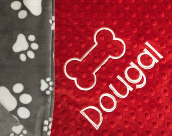 Pet Blanket Puppy Blanket Dog Blanket Bulldogs Fan Gift Hound Dogs Fan Gift Personalized Pet Bedding Grey Paw Print Red New Pet Owner Gift