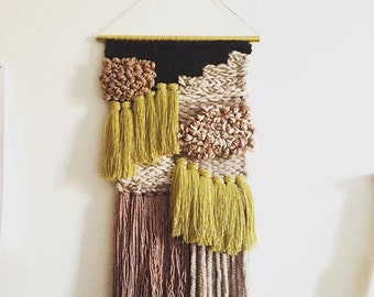 """Handwoven Wall Hanging / Tapestry Weaving 10″ x 22″ (""""Easy To Be Around"""")"""