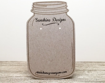 Mason Jar Customized Earring Display Cards - Jewelry Display - Packaging - Price Tags - Personalized | DS0016