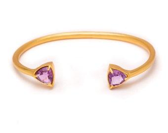 Gemstone Cuff Bracelet - Gold Gemstone Bangle - Amethyst Cuff - Gold Cuff - Purple Amethyst Gemstone Bangle