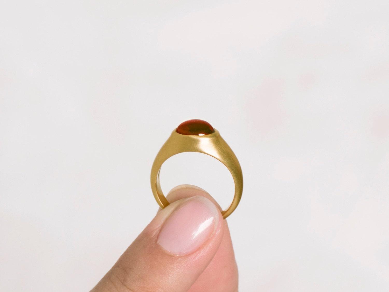 Men\'s Garnet Ring Man solitaire ring 18k gold Bombay