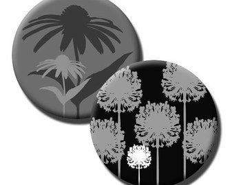 Foliage in Gray Black and White - 1 inch and 1.313 inch circles  for 1 inch button machines