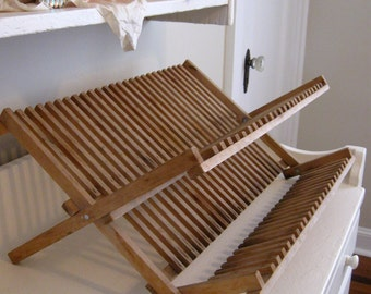 French Country Kitchen Dish Drying Rack Wooden Display Cottage