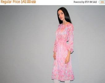 On SALE 60% Off - Vintage 1980s Pastel Pink Silk Sheer Dress   - Vintage  Pastel 80s Dresses  - Vintage Pastel  Dresses  - W00357