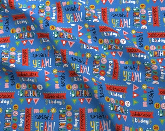 Celebration Fabric - Celebrate today By Lizmytinger - Celebration Birthday Party Blue Cotton Fabric By The Yard With Spoonflower