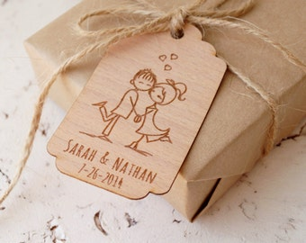 Wedding Favor Tags, Personalized Thank You Tags, Rustic Custom Favor Tags, Engraved Wooden Veneer Tags