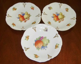 Porcelain Fruit Plates Set Of Three, Hand Painted, Germany