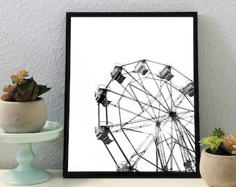 Ferris Wheel Print, Black and White, Poster, Minimalist Print, Printable Poster, Beach Photography, Dorm Decor, Wall Art, Newport Beach Art