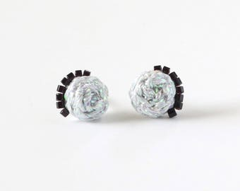 Braided Stud Earrings with Metallic Thread and Beads - Hand Sewn Earrings - Colorful Stud Earrings by Ashdel - Holiday Collection