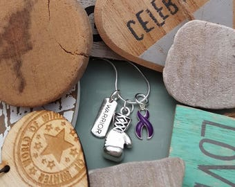 DP-2 Cystic Fibrosis Necklace Awareness Pancreatic Cancer Jewelry Crohns Jewelry Lupus Boxing Glove Charm Warrior Necklace