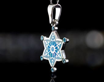 New Year Gift for Her New Year Present Silver Snowflake Necklace Snowflake Pendant Snowflake Jewelry Snowflake Silver Topaz Winter Necklace