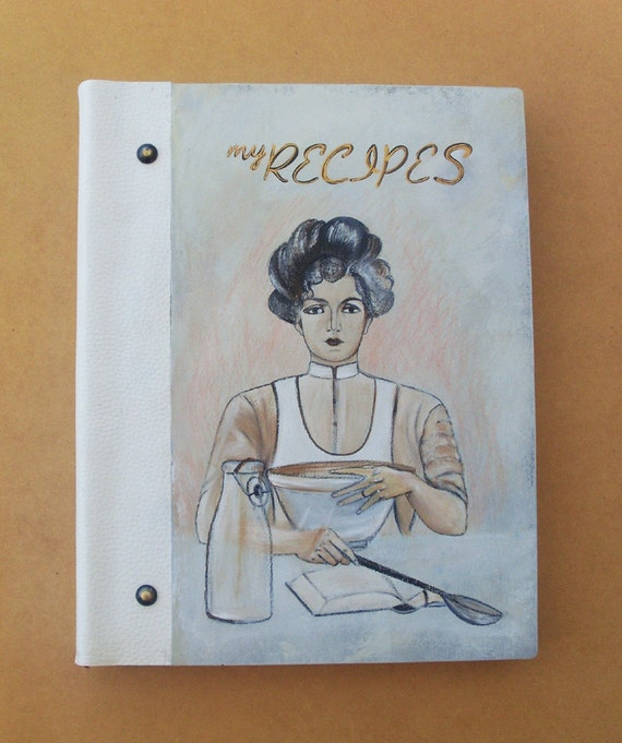 RECIPE BOOK, Personalized Recipe Book, Recipe Book Wood, Recipe Book Vintage, Blank Recipe Book, Kitchen Decor, Handmade and Hand Painted