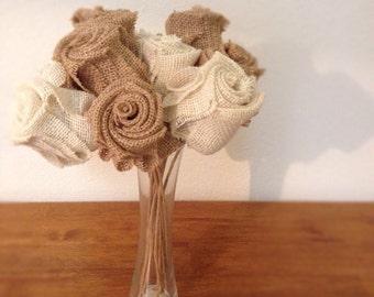 6 Burlap Roses with Stem