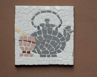 Set di con oggetti da cucina mosaico arte sottobicchieri
