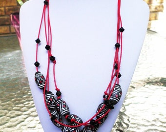 Red Leather and Painted Horn Multi-strand Tribal Necklace