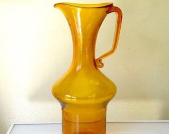 "Cruelest Month Sale Wow! Huge 16""H Vintage Blenko Amber Glass Pitcher"