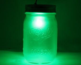 Emerald Green Mason Jar Night Light