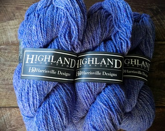 Purple wool yarn, worsted weight, chicory, Highland yarn