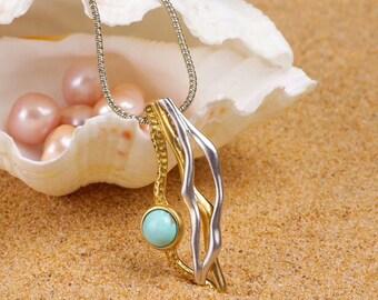 18k Gold Vermeil Turquoise Pendant