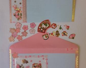 Enveloppes recyclées décoration kawai-avec masking tape - lot de 2 enveloppes et stickers japonais - embellissement - recyclage d'enveloppes