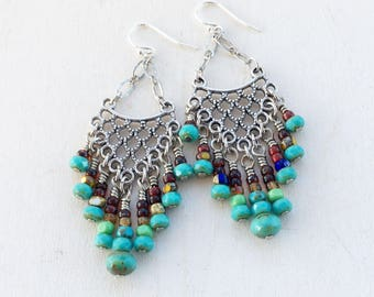 Colourful Chandelier Earrings, Boho Silver Filigree Earrings, Chain Earrings, Long Gypsy Statement Earrings - Sterling Silver Ear Wires