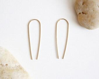 Gold Arc Earrings - 14K Gold Filled Long Curved Threader Earrings - Geometric Earrings
