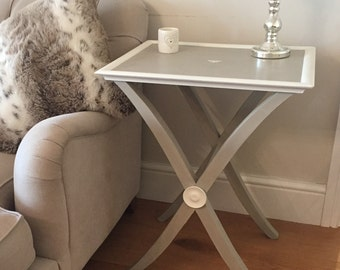 Hand Painted Oka Style White and Grey Side / Coffee Table